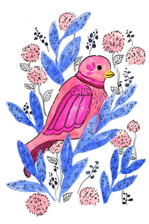 Bright pink and blue watercolor bird illustration with ink details and floral accents