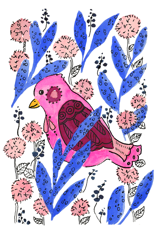 Bright pink, raspberry, and blue watercolor bird illustration with ink details and floral accents