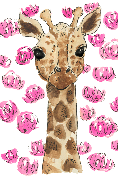 Cheerful and sweet watercolor giraffe illustration with pink flowers and doodles