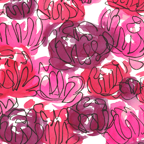 Pink, rose, magenta watercolor and ink floral pattern