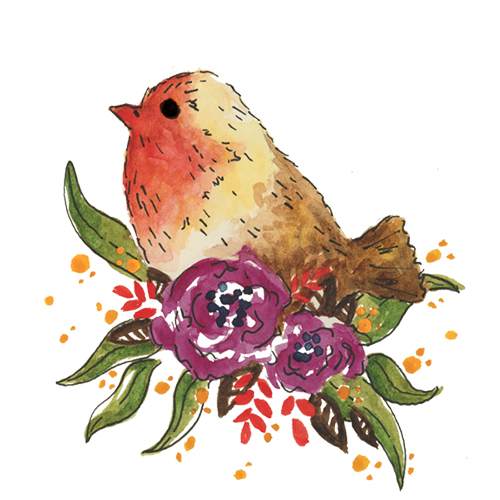 Little red and brown watercolor and ink bird and floral illustration for licensing