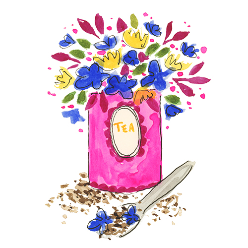 Bright pink tea box with flowers and hand lettering food watercolor illustrations with ink