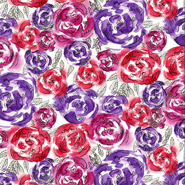 Purple magenta pink roses watercolor pattern