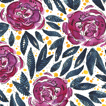 Purple yellow indigo blue floral watercolor pattern