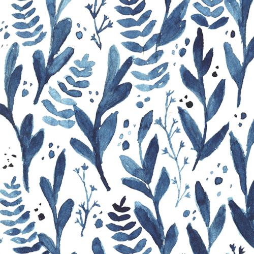 Indigo delft blue watercolor floral pattern
