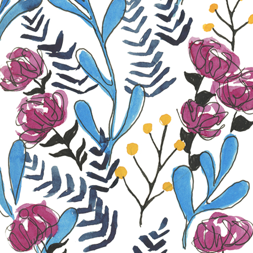 Pink, turquoise blue, yellow, and indigo watercolor floral pattern