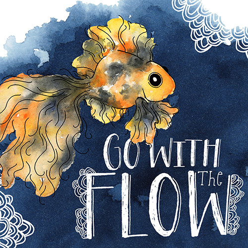 Watercolor Goldfish with Scallop Doodles on Indigo Background With Hand Lettering