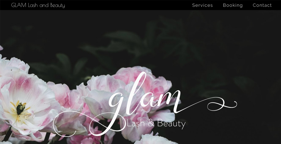 Glam Lash and Beauty website design by Catherine McGuire banner image.jpg