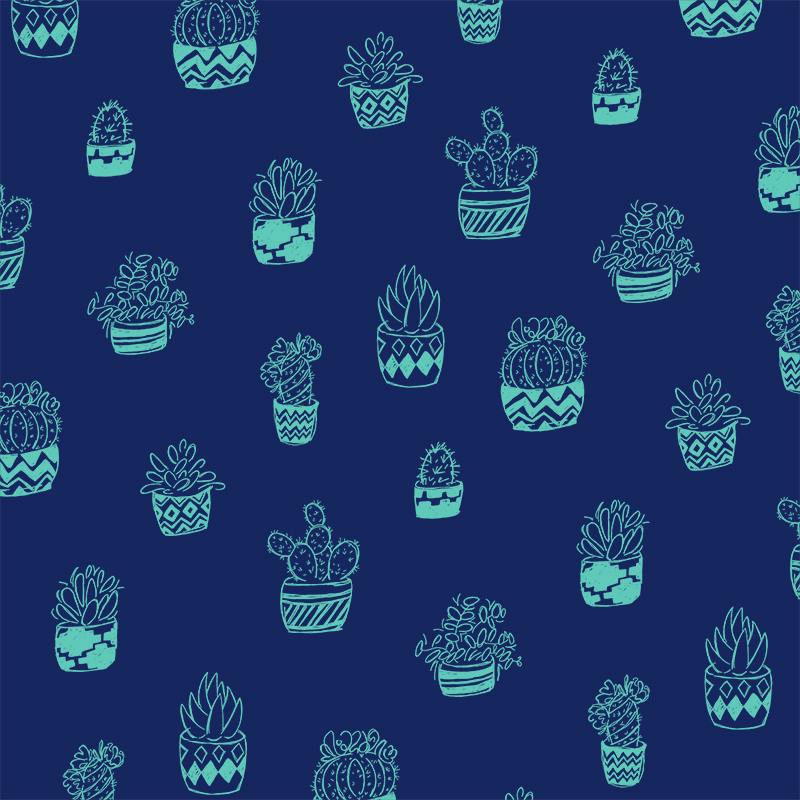 Blue and teal ink doodle cacti pattern
