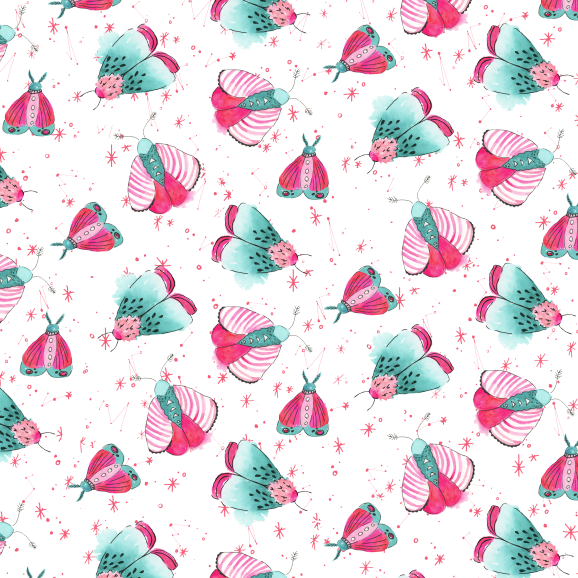 Pink and teal watercolor moth pattern