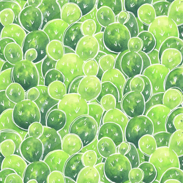 Watercolor cacti pattern design