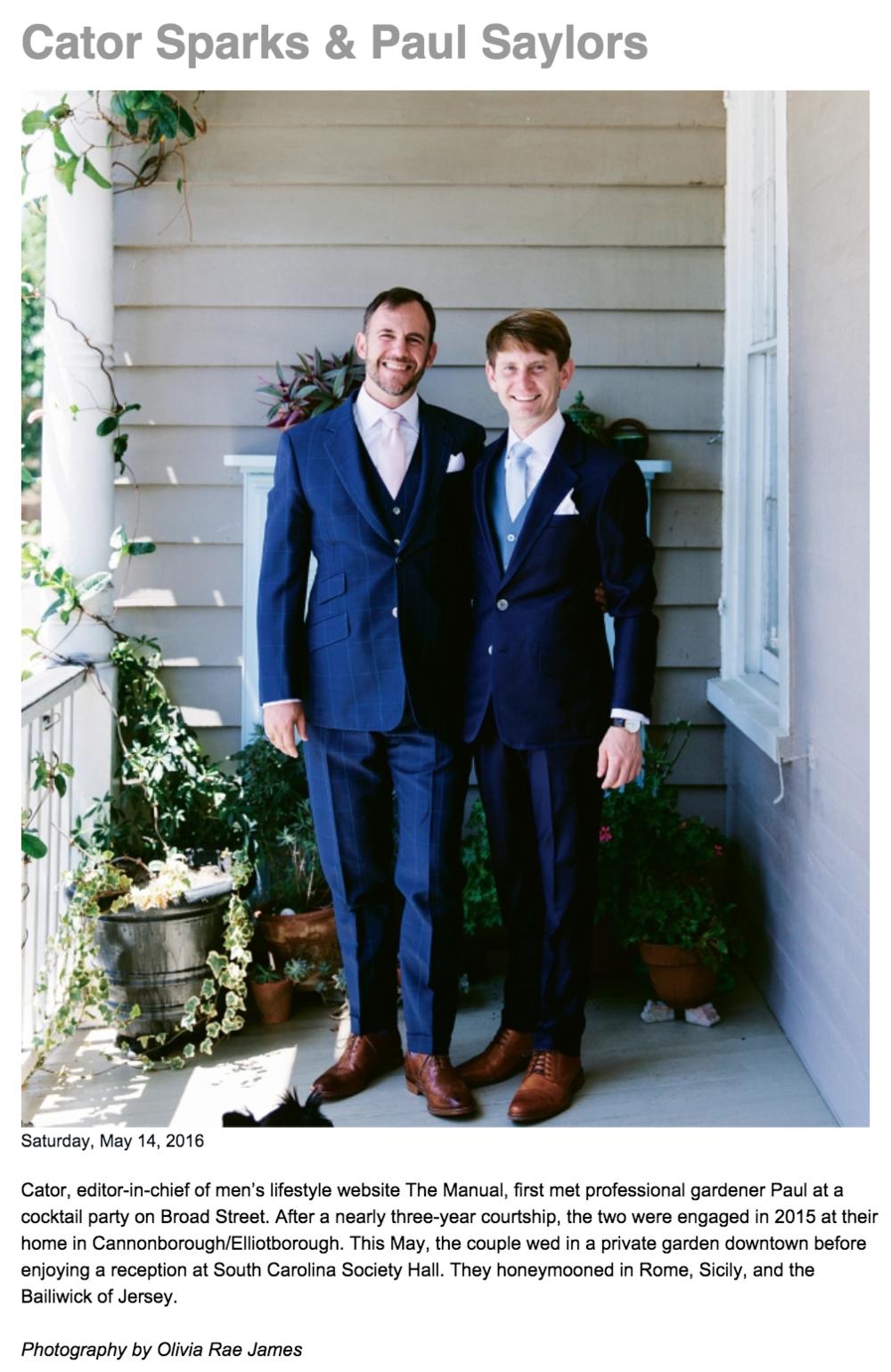 Charleston Magazine Wedding Announcement (click to view)