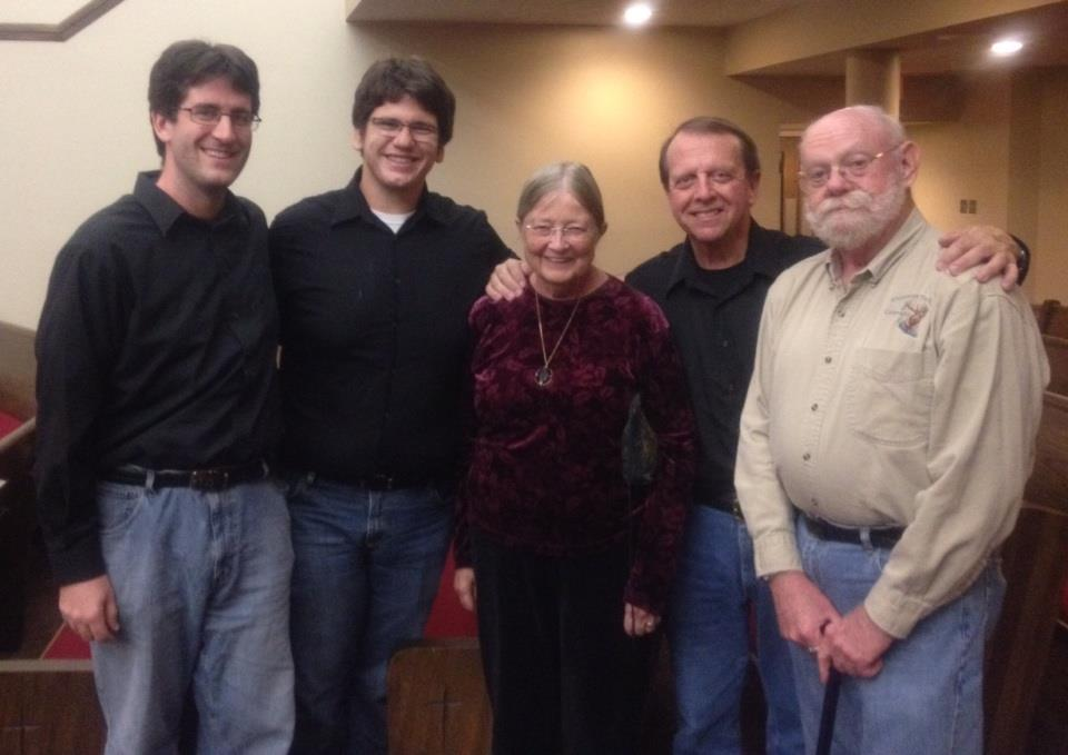 LPO Trombones with former New Orleans Philharmonic members Dick Erb (Bass Trombone) and Helen Erb (Flute/Piccolo).