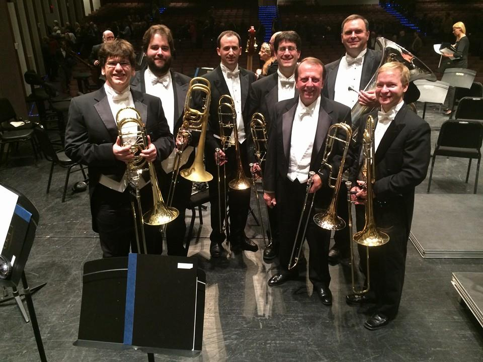 LPO Low Brass with guests for Shostakovich 7.  Steve Menard (University of North Texas), Bron Wright (Colorado Springs Philharmonic) and Nick Schwartz (NYC Ballet).