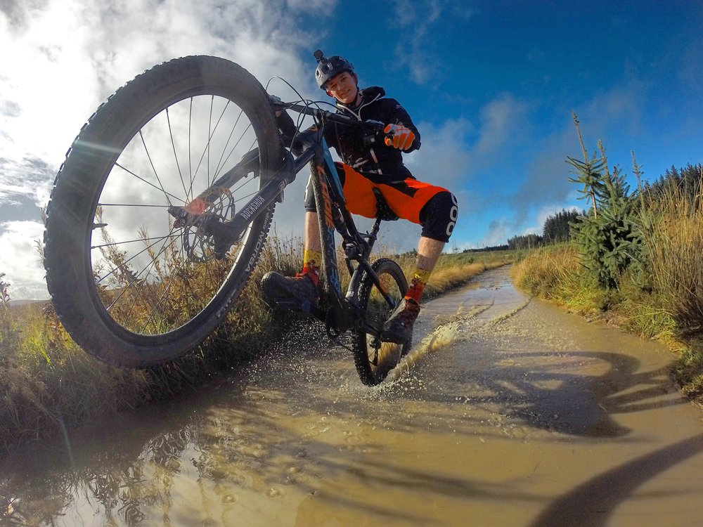 """Heavy rain threaten yesterday's ride round #Llandegla, leaving puddle plagued trails. So Go big or Go home i said to @orihe - I think you can work out what his answer was. 💪🏻"""