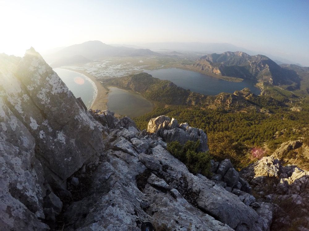 On top of the world... the amazing Bozburun Tespesi at sunset, overlooking Iztuzu beach and the canal systems of Dalyan, with  Köyceğiz  lake just about visible in the distance.The most spectacular moment of the week. So tranquil. Can't wait to go back.... possibly by bike ;-)