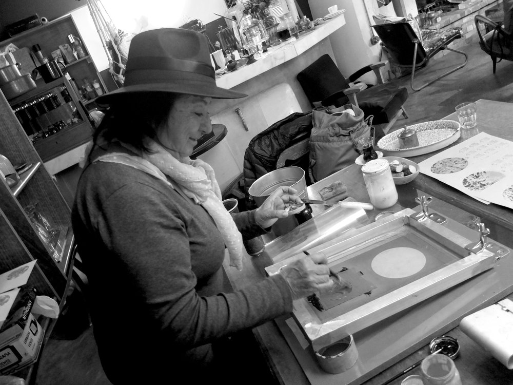 Ottostop's Aunty Ayse tries screen printing for the first time ever at MaeZae, Karakoy.