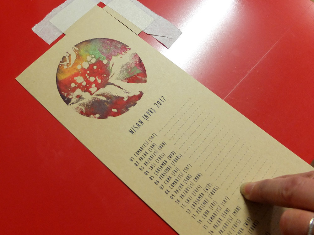 November's students made a 12-page mini wall calendar, each month with a unique mono-printed ebru planet. Sweet stuff!