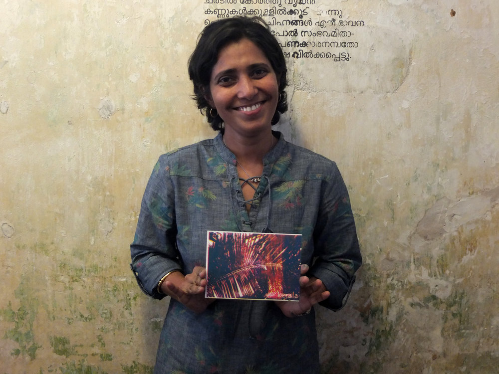 Sajana shows off her epic 3-colour overlaid coconut palm print, so funky!