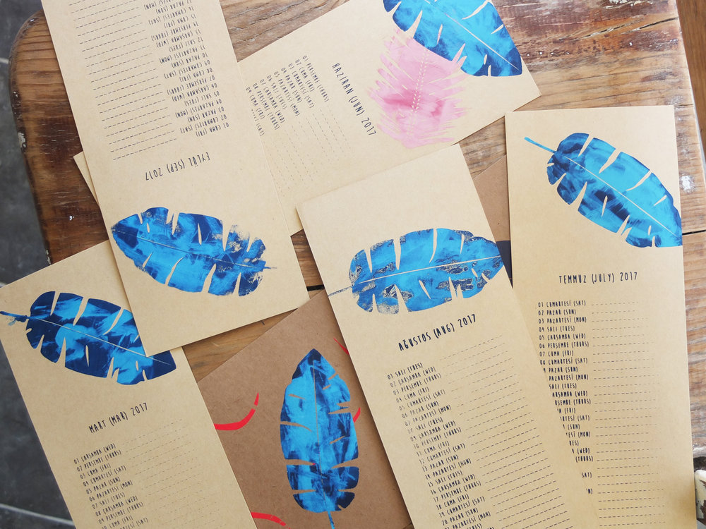 Some spectacular hand painted mono-printed blue banana leaves. Got me feeling all summery!