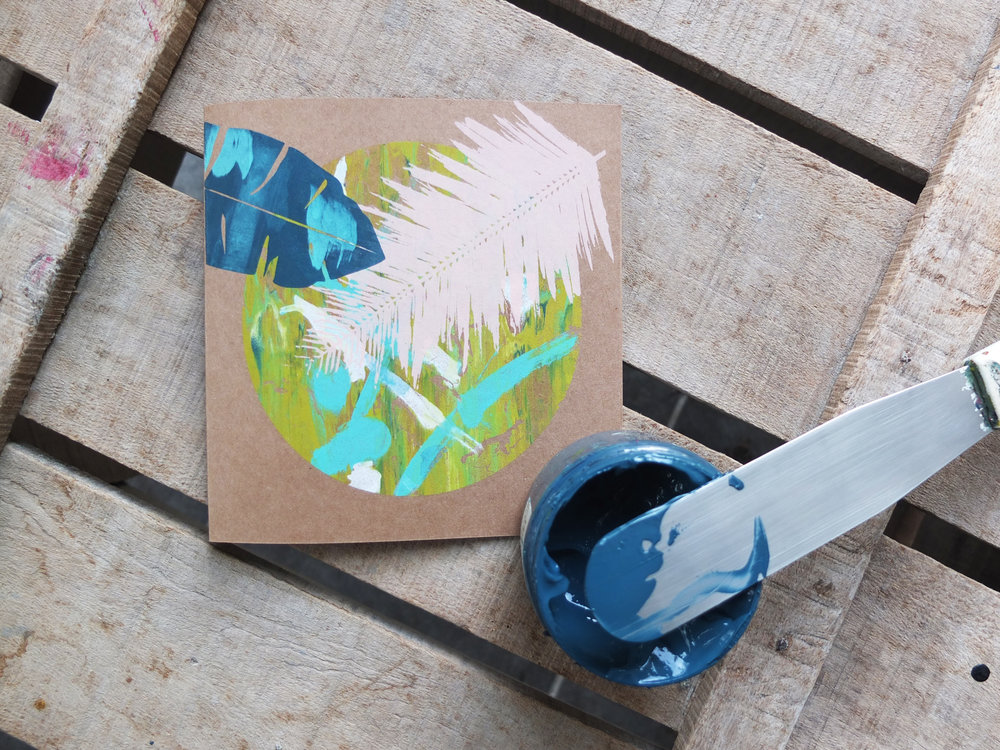 Mono-printed card with banana and palm leaves...