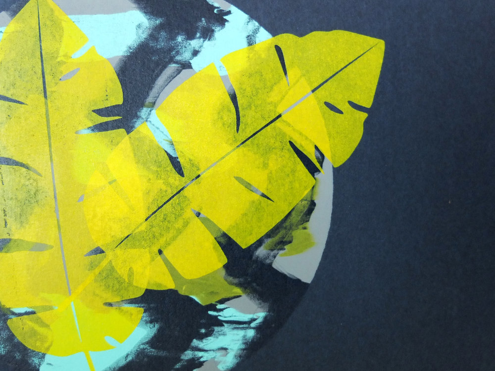 Still totally in love with Clare's mono print with banana leaves!