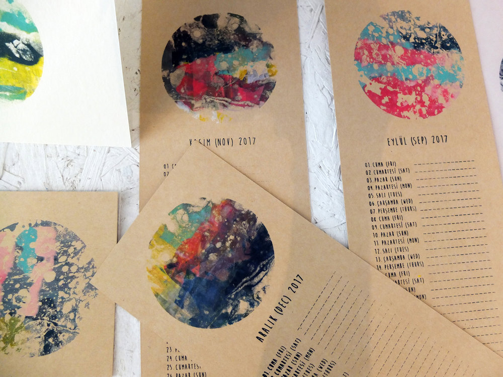 Join an Ottostop workshop in June and make a beautiful calendar like this (beautiful work by Melike in Moda at Mod-Ada)