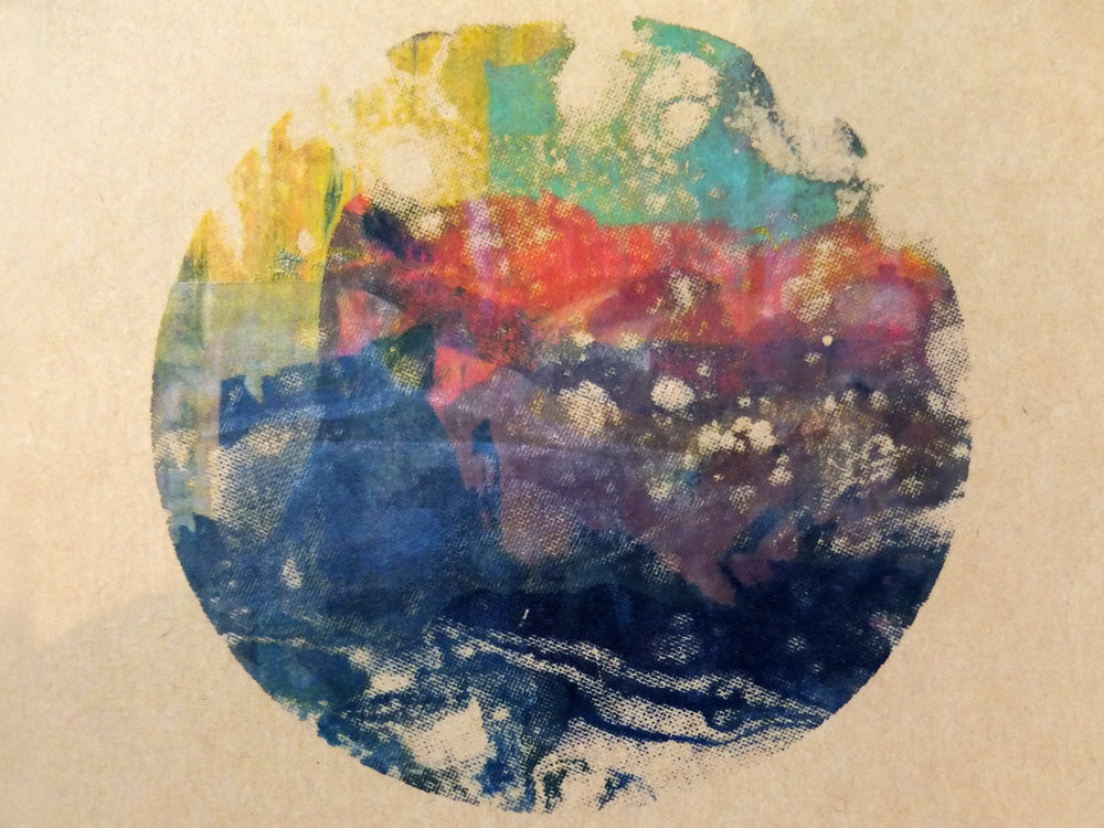 Melike's lovely ebru mono-printed planet!