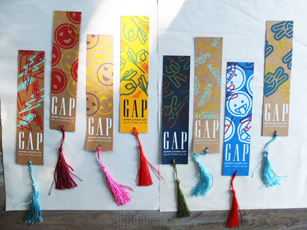 Example bookmarks printed here in the Ottostop studio in Fethiye.