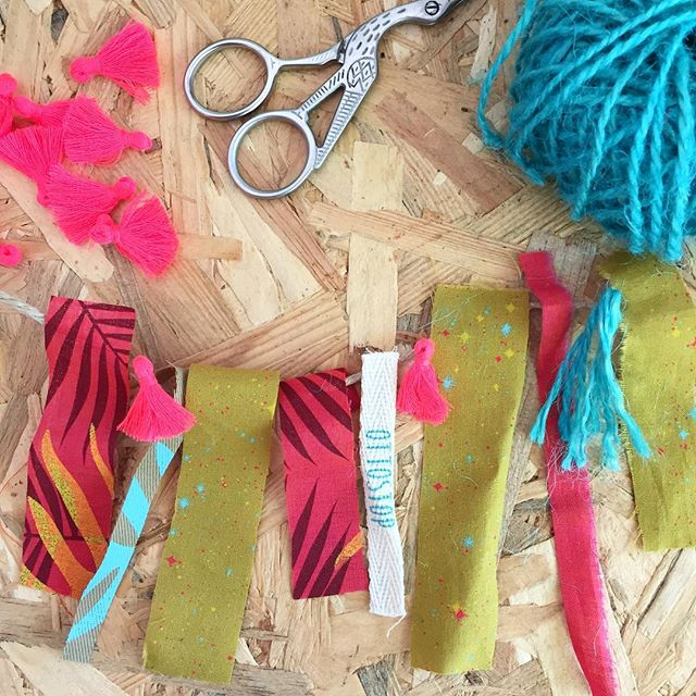 HELP NEEDED! I want to make garlands/ bunting from fabric scraps, tassels and other bits I find around the studio! But what to call it? Scrappy Bunting? Waste-not garland? Any ideas VERY welcome 🤗