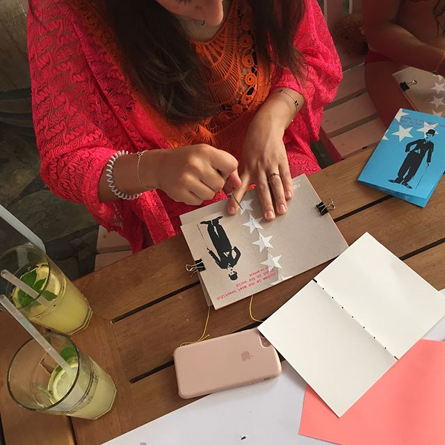 A few moments from today's Summer Screenings week workshop at the gorgeous Hillside Beach Club .... cinema-inspired notebooks made by novice printmakers from Germany and the UK , what a nice way to spend a Monday afternoon!!! Check out @hillsidebeachclub 's current Instagram story for a sweet little clip of today's creativity!