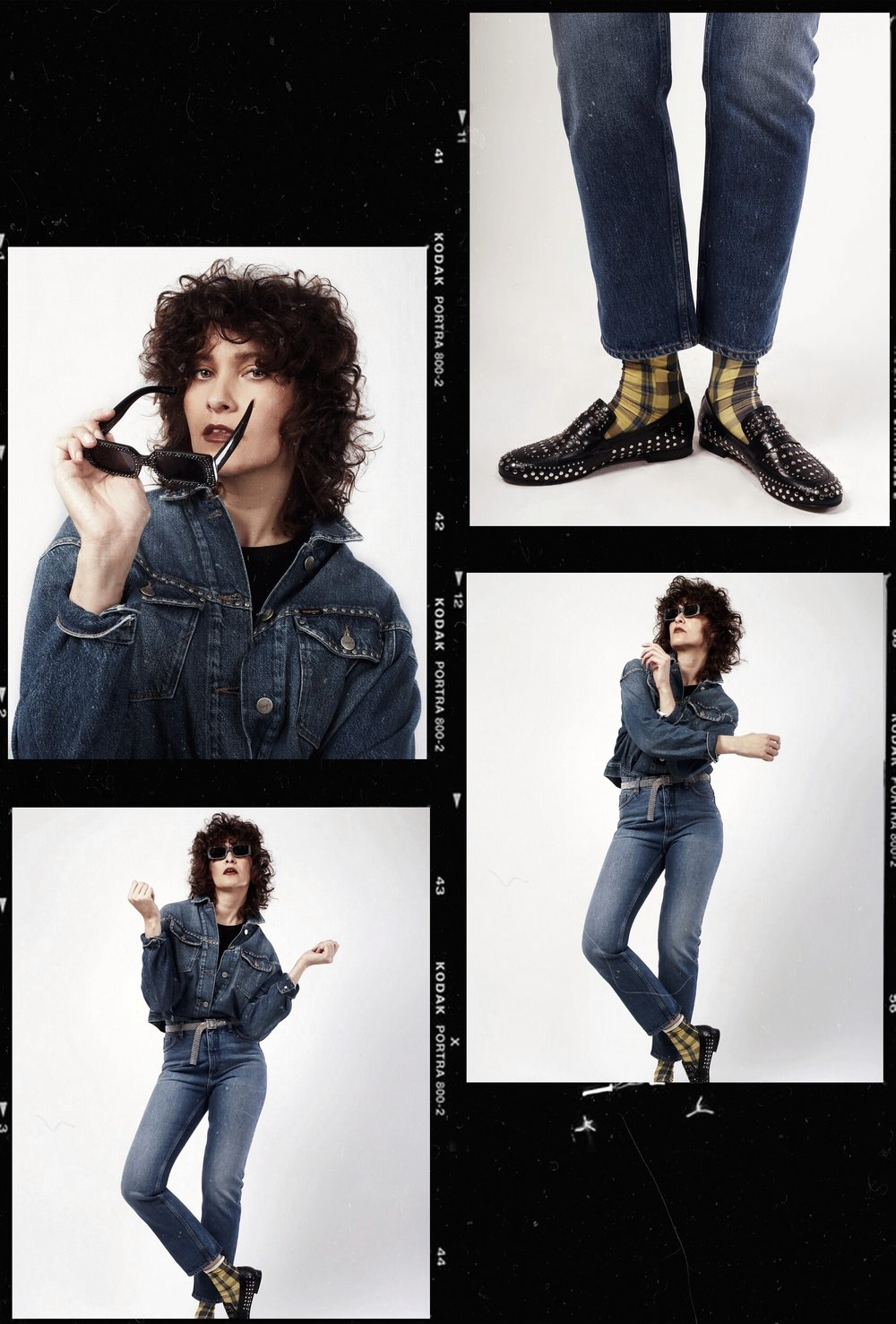 Denim jas: Wrangler Jeans: Monki Schoenen: Sasha Shoes Zonnebril: Mango