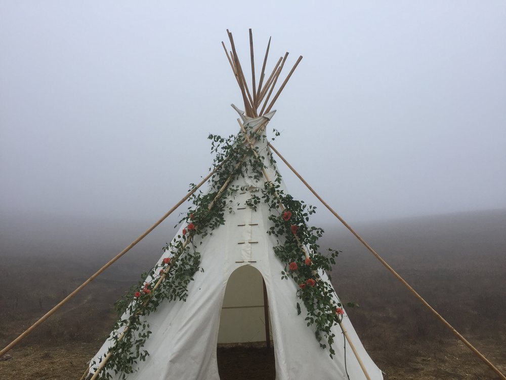 Our Sioux Tipi wedding ceremony backdrop!