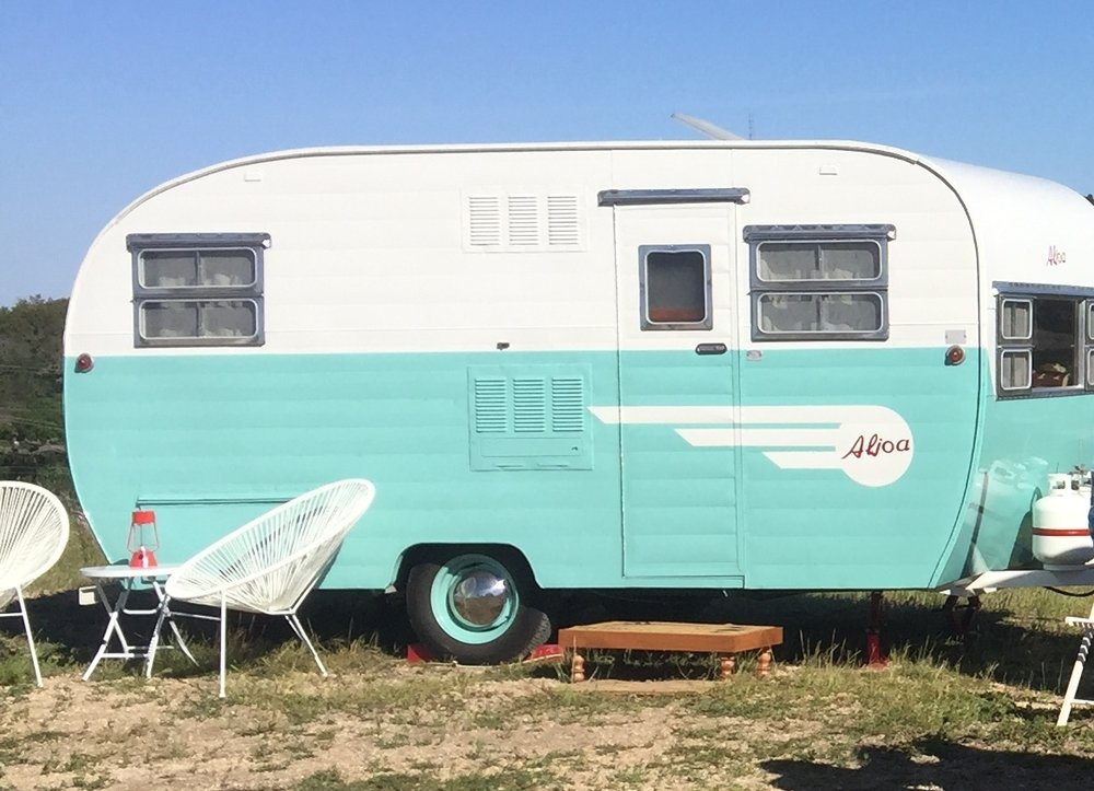 1954 Turquoise Canned Ham Vintage Trailer
