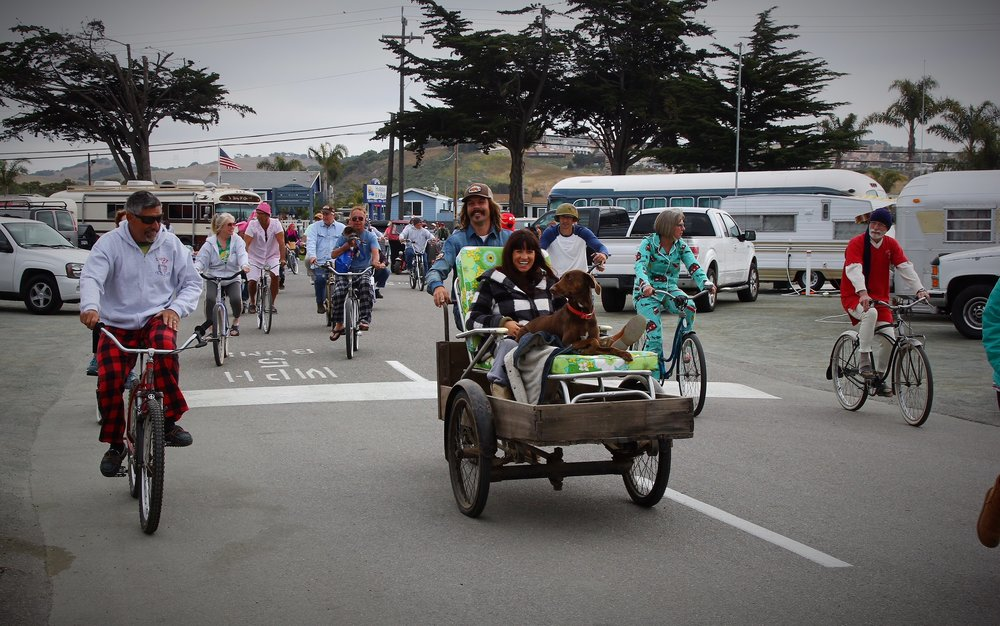 A Pismo Vintage Trailer Rally tradition: The pajama Bike Ride! Everyone gets up early, already dressed in their best PJs and we all cruise the park!