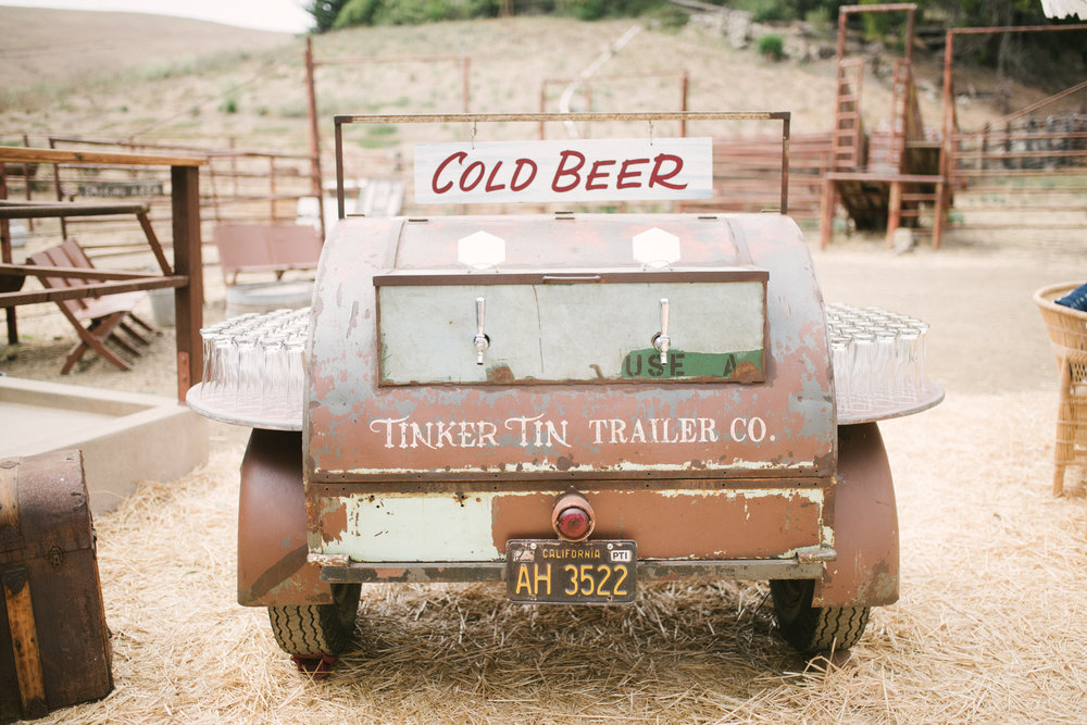 Tinker Tin Trailer Co's 1948 Barrel Trailer - The most fun and unique option for serving keg beer on tap at your wedding or event.