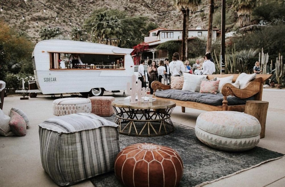 We loved this shot of our Sidecar Shasta mobile bar trailer at Colony 29, an incredible historic venue in Palm Springs, Ca.