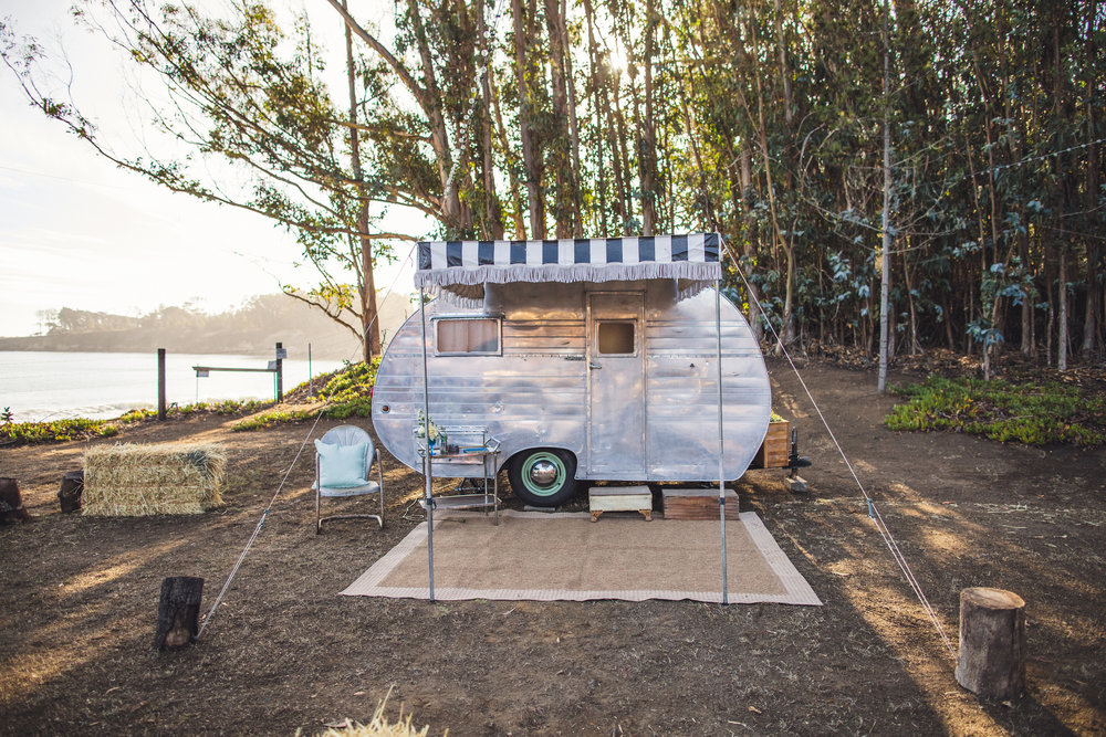 Our 1953 Crown Vintage Trailer photo booth trailer at a beautiful, ocean view Hearst Ranch.
