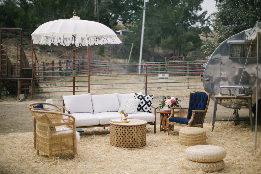 Boho lounge and vintage photo booth trailer