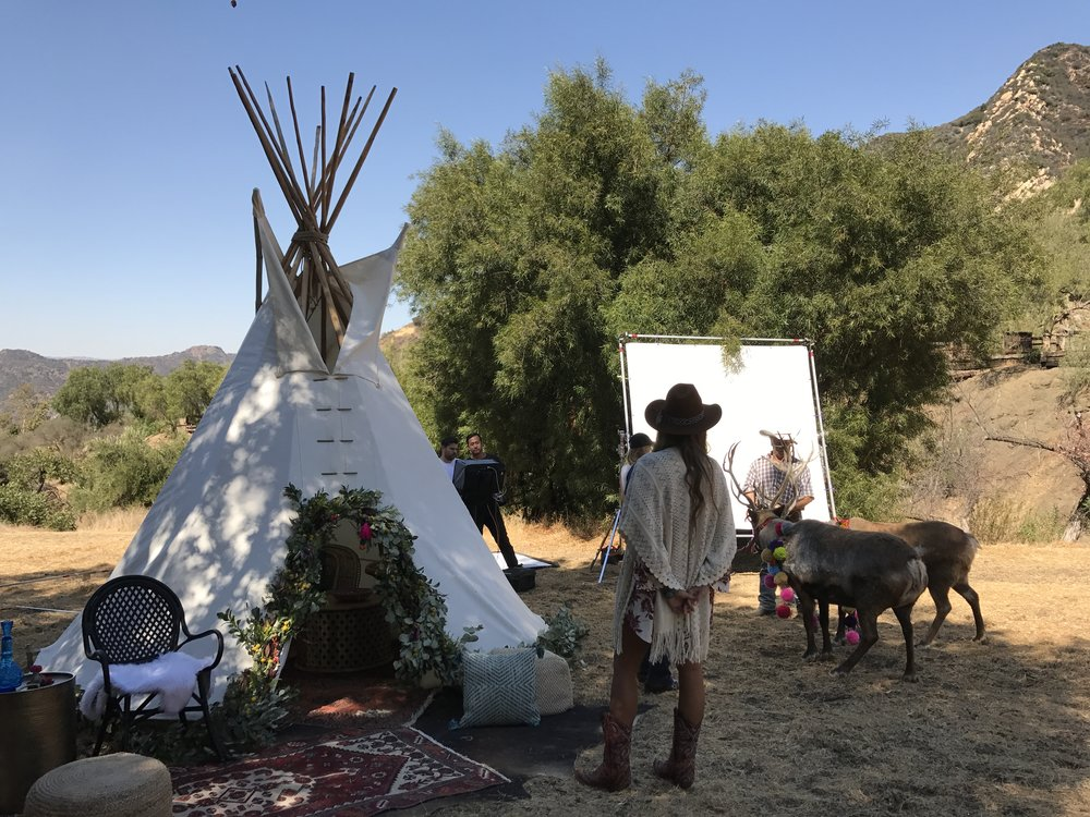 Western boho styled catalogue shoot with lounge + tipi rental