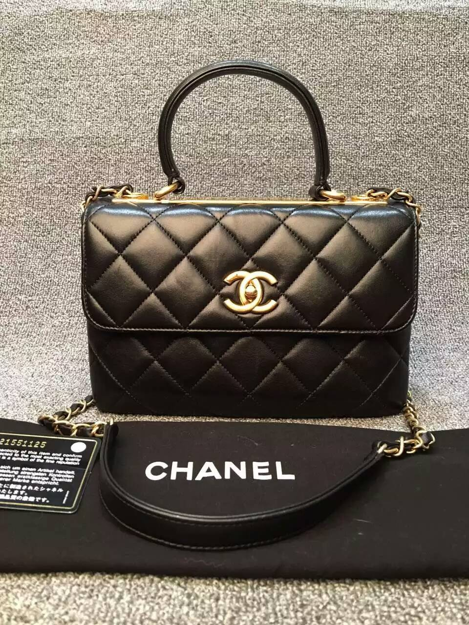 5781aa1ad6be1c SOLD-Chanel Trendy CC Small Dual Handle Flap Bag