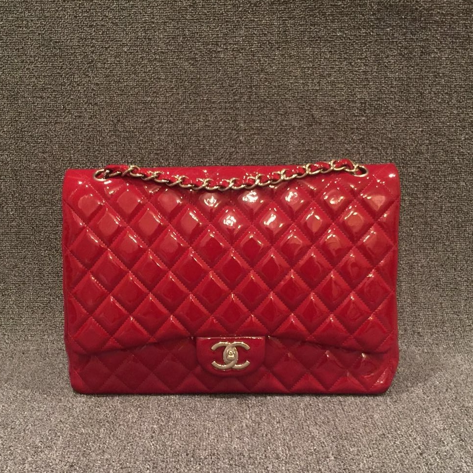 9677b6293e22 Chanel Patent Red Maxi Flap Bag — CONSIGNMENT BOULEVARD
