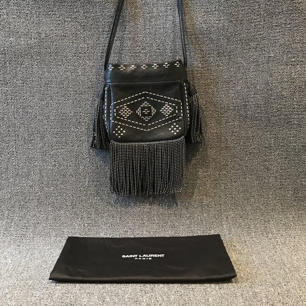 09ecc8e2f7 Yves Saint Laurent Small Helena Studded Fringe Crossbody Bag ...
