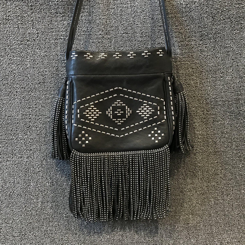 3a01fc3965 Yves Saint Laurent Small Helena Studded Fringe Crossbody Bag — CONSIGNMENT  BOULEVARD