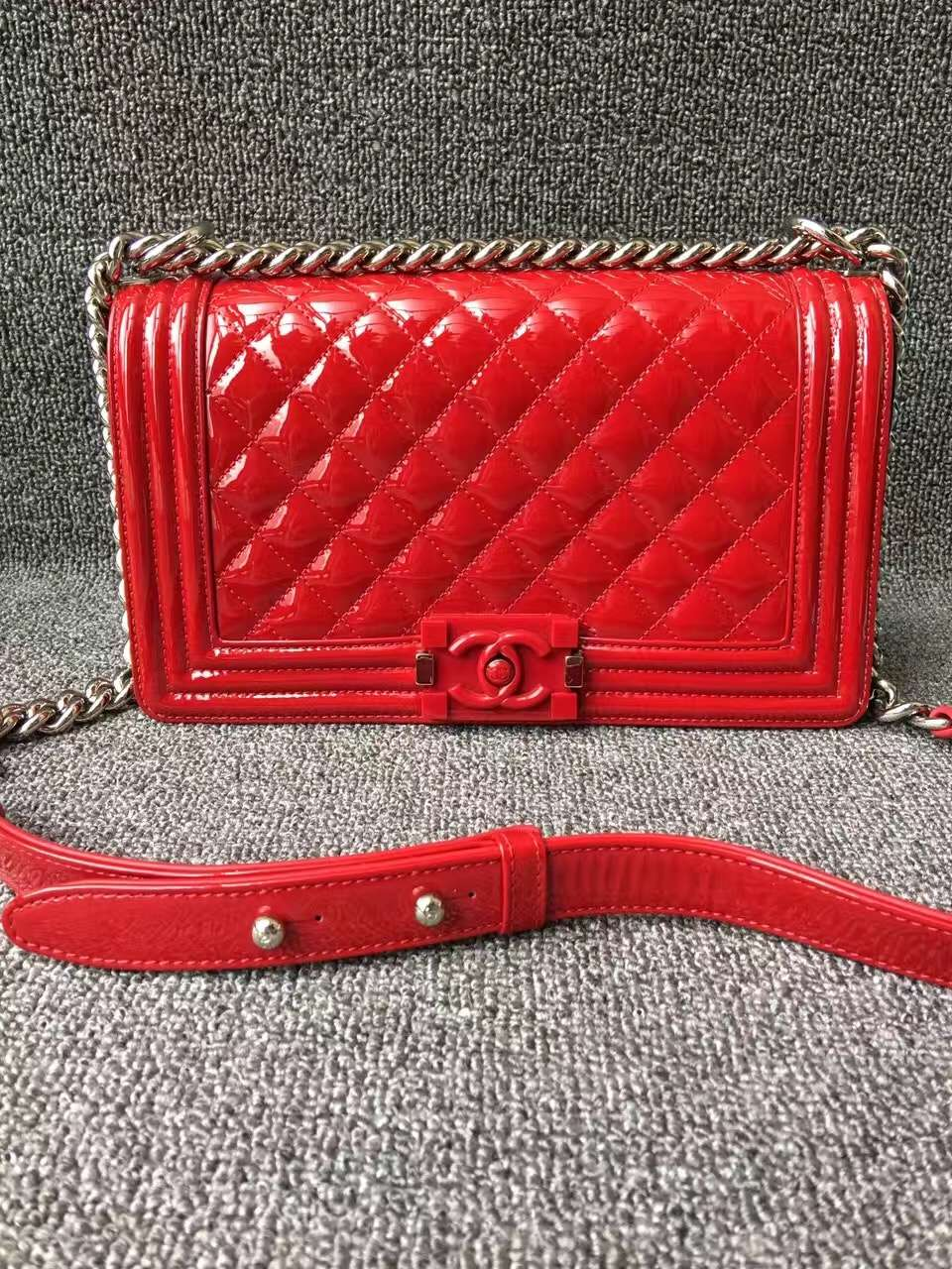 fe4f8109ea9d Chanel Boy Medium in Red Candy — CONSIGNMENT BOULEVARD