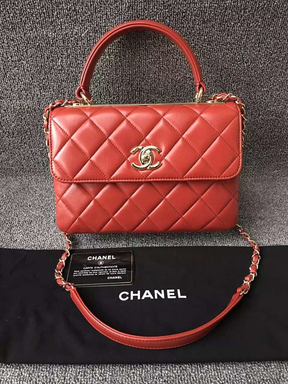 Chanel Trendy CC Small Dual Handle Flap Bag in Red — CONSIGNMENT ... a0d95d664e482