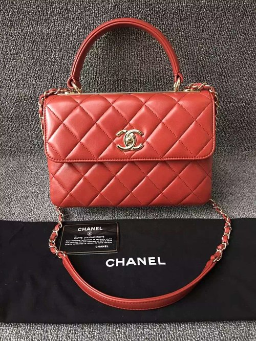98517a81117f Chanel Trendy CC Small Dual Handle Flap Bag in Red
