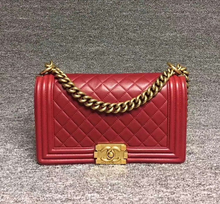7475cc35a636 Chanel Boy Med Red Calfskin with Gold Hardware