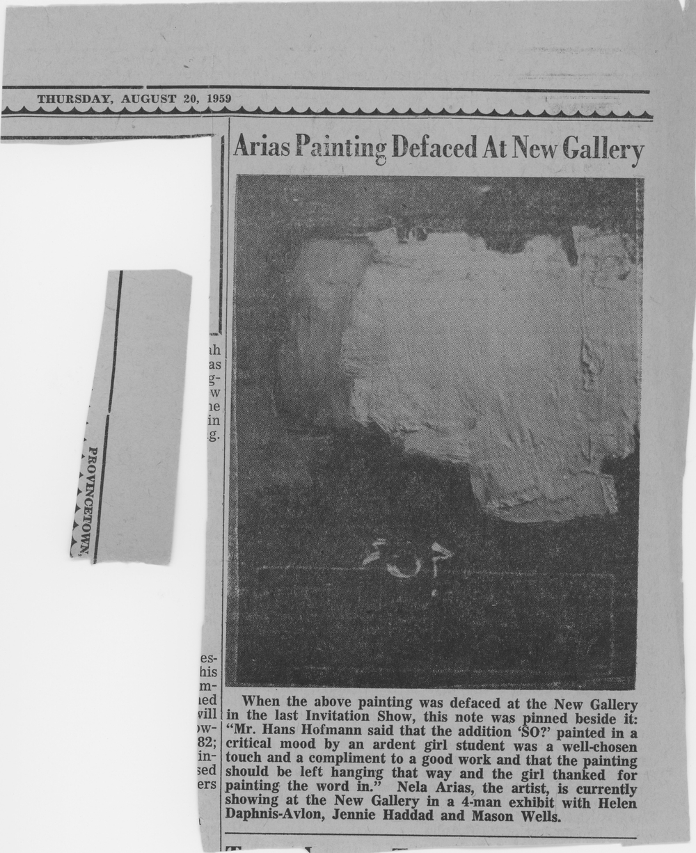 Article about Nela Arias defaced painting August 1959