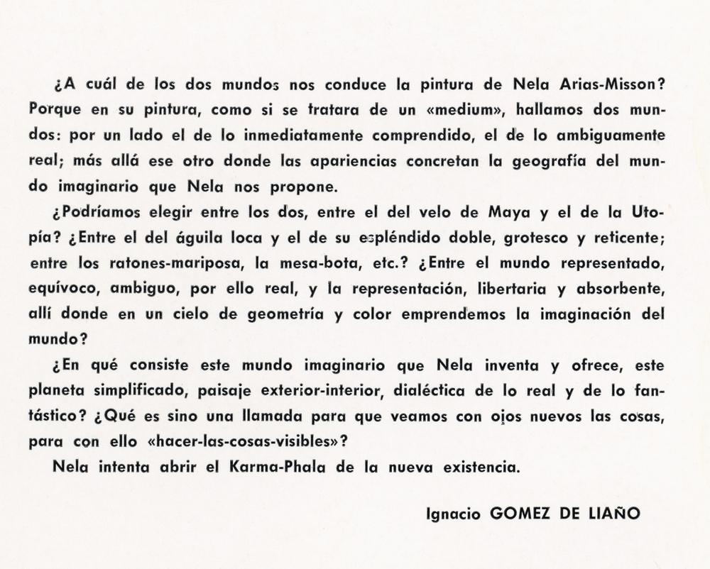 Ignacio Gomez de Liaño writes about Nela Arias Misson